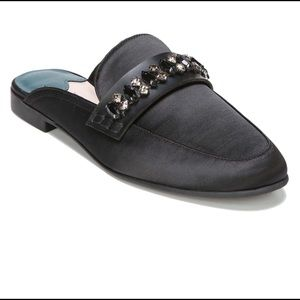 Shoes - Black With Gemstones Loafers / Mules Brand New-B7